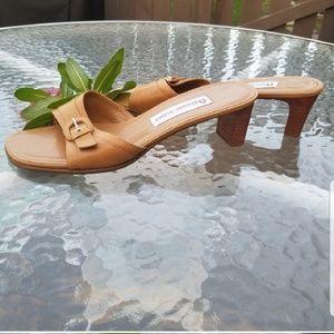 "Etienne Aigner Tan Sandal 2"" Heel. Size 7."